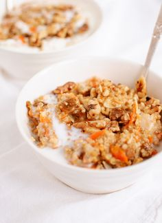 Megan's Morning Glory Oatmeal: Creamy, wholesome steel-cut oats cooked with carrots, coconut milk and spices. This recipe is gluten free and easily vegan.