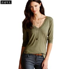 Aliexpress.com : Buy ZAFUL 4 Colour Women's Casual Jersey Plus Size T Shirt 2015 Sexy Deep V Neck Side Slit Solid Color 3/4 Sleeve Elegant T Shirts from Reliable t-shirt rhinestone suppliers on ZAFUL  | Alibaba Group