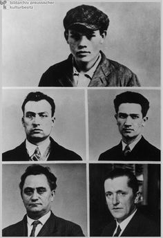 On the evening of February 27, 1933, the Reichstag was set on fire. The alleged arsonist was Marinus van der Lubbe (top row) (1909-1934), a young Dutch left-wing radical. Van der Lubbe was arrested on the spot and immediately claimed sole responsibility for the crime. But the Nazi leadership planned to make use of the case for its own ends.