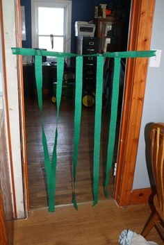 The highlight of the week! An obstacle course of green streamers! Best gross motor activity ever.