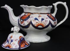 Gorgeous early Victorian Gaudy Welsh footed teapot with Imari decoration c 1840