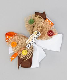 Tan & White Happy Harvest Bow Clip by Heavenly Things for Angels on Earth #zulily #zulilyfinds