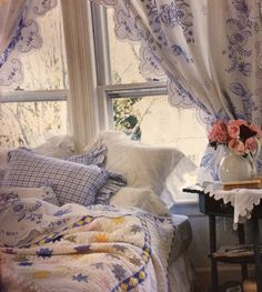 Lovely cottage bedroom with pretty embroidered curtains: Victoria magazine cottage classics