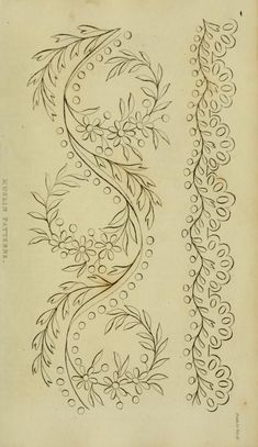 The Repository of arts, literature, commerce, manufactures, fashions and politics Diy Embroidery Patterns, Border Embroidery Designs, Hand Embroidery Flowers, Beaded Embroidery, Embroidery Stitches, Machine Embroidery, Little Dorrit, Bordado Floral, Embroidered Towels