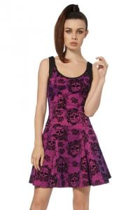 Jawbreaker Flocked Spiderweb Gothic Dress - Purple Taffeta Dress