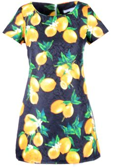 Evelyn Lemon Print Shift Dress - JADOREYOU.COM