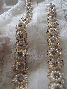 beaded lace trim bridal sash beaded jewelry Trim Pearl