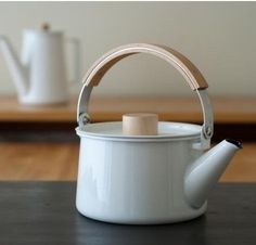 10 Easy Pieces: Classic Tea Kettles. Shown here is an enamel-coated steel kettle by Makoto Koizumi.