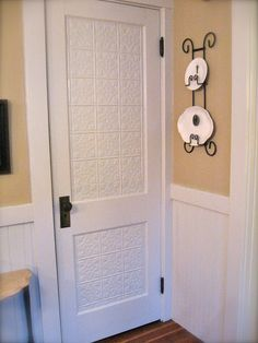 Petite Michelle Louise: Kitchen Makeover-this door received a facelift! It was lacquered finish-covered in embossed tin and painted! Such a transformation! Tin Tiles, Tin Ceiling Tiles, Ceiling Panels, Pantry Makeover, Door Makeover, Style Shaker, Pantry Inspiration, Colonial Style Homes, Reno