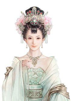 绘画 古装 美女 插画 嘀咕图片 #cute #smile #illustration #asian #chinese #girl http://www.digu.com/pin/tewpokb15a2pska