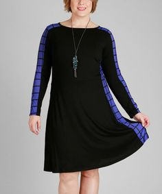 Loving this Black & Blue Windowpane Fit & Flare Dress - Plus on #zulily! #zulilyfinds