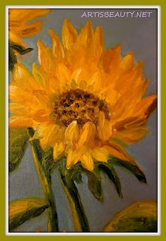 ART IS BEAUTY: Finished Sunflower oil painting for the freshly painted kitchen