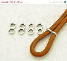 25% OFF 4 Thin Double Strand Separators (5MM) - Antique Silver - for use cord up to 5mm Round Leather Cord