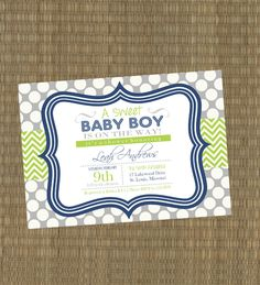 Printable Boys Baby Shower Invitation - Navy and Lime Green Chevron Baby Shower Invites - Baby Boy Shower. $15.00, via Etsy.