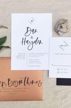 Modern industrial wedding invitation suite #weddinginvitation
