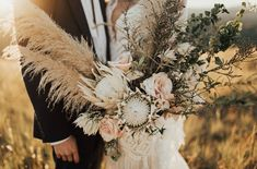 Marfa Intimate Vow Renewal protea pampas grass bouquet with antique roses     #bouquet
