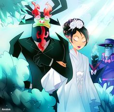 """""""Wedding AU where Aku is that grumpy soon to be father-in-law who despises his soon to be son-in-law but starts sobbing uncontrollably when he walks his daughter down the aisle."""""""