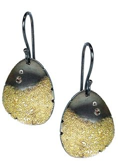 Petal Earrings with Diamonds by Jenny Reeves: Gold, Silver & Stone Earrings available at www.artfulhome.com