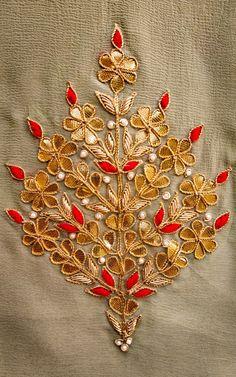 Exclusive Gota Patti Handwork by Label Kanupriya - Handarbeit Zardosi Embroidery, Embroidery On Kurtis, Kurti Embroidery Design, Hand Embroidery Videos, Hand Work Embroidery, Couture Embroidery, Embroidery Motifs, Embroidery Fashion, Hand Embroidery Designs