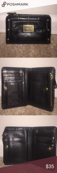 Michael Kors Wallet Authentic. Black leather with gold hardware. Signs of wear on front hardware. All hardware functional. Michael Kors Bags Wallets