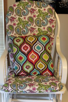Refinished & ReCovered Glider rocker!!  I did awsome for my first time, if i do say so myself!!