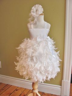 Flower+Girl+Dress+++Feather+Dress++Swan++Solid+by+babybeenos,+$148.00.  Comes in ivory