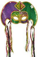 Festive Mardi Gras Jester Half Mask
