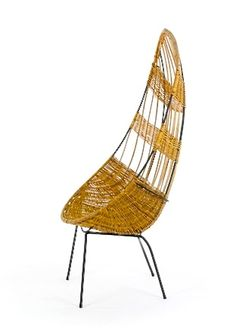 John Crichton; Wrought Iron and Cane 'Egg' Chair, 1950s. Via Mr. Bigglesworthy.