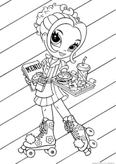 lisa frank coloring page featuring glamour girl as a roller skating waitress