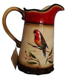 SOLD New Enesco JULIE UELAND Cockatiel Bird Parakeet Parrot Ceramic Drink Pitcher