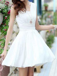 Elegant V-Neck Sleeveless Solid Color Chiffon Dress For Women
