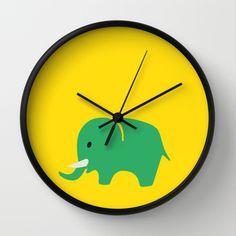Kids elefant green Wall Clock by Friedas Glück - $30.00 Green Wall Clocks, Kids, Decor, Clock, Gifts, Young Children, Boys, Decoration, Children