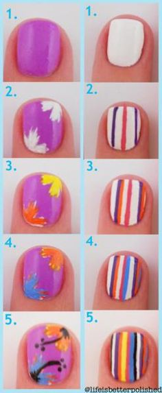 Step-by-Step How To: Vibrant Flowers and Stripes by Life Is Better Polished | Nail Art How To, Tutorial | Nail It! Magazine