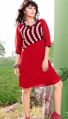 Newest and attractive color causal with Kurtis with added high quality Alfino chiffon stitched materials with full sleeves border work. Party Wear Kurtis, Party Wear Sarees, Designer Kurtis Online, Stylish Kurtis, Latest Kurti, Sarees Online India, Tunic Designs, Kurti Patterns, Colorful Party