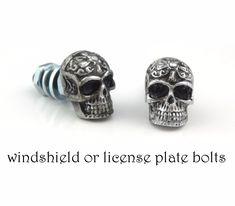 4 Chrome Custom License Plate Frame Screw Snap Caps Covers Silver P Skull B