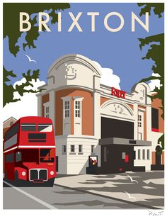 Brixton (DT24) Town and City Print by Dave Thompson http://www.thewhistlefish.com/product/dt24f-brixton-framed-art-print-by-dave-thompson #brixton #ritzy #london
