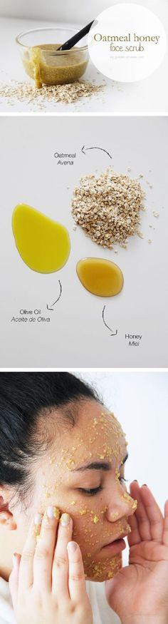 Oatmeal honey face scrub diy golden strokes health - face ca Diy Face Scrub, Diy Scrub, Organic Skin Care, Natural Skin Care, Natural Beauty, Natural Face Masks, Natural Honey, Diy Peeling, Homemade Scrub