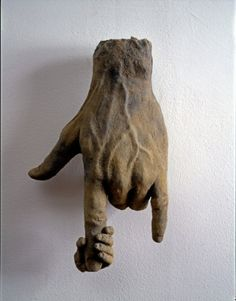 James Croak, Hand - sculpture - with tiny hand holding the index finger of the big hand
