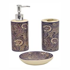 Simply Purple Bathroom Accessories Sets With Cream Ceramic And Brown And Purple Batik Picture