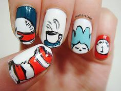 Cat in the hat ~ The Nail Artiste: Dr. Seuss Nail Art