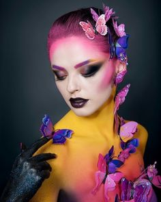 Butterfly ( skin tone lighter than model skin levels Body Makeup, Sfx Makeup, Costume Makeup, Makeup Art, Beauty Makeup, Make Up Looks, Fantasy Make Up, Creative Makeup Looks, High Fashion Makeup