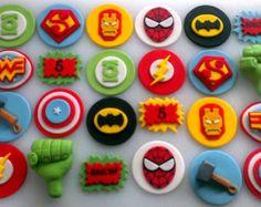 Avengers & Justice League Superhero Cupcake Toppers!  (one dozen)
