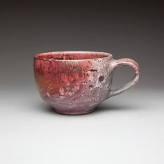 red ceramic pottery tea cup by CeramicSoul on Etsy