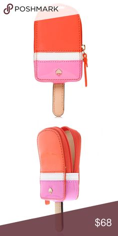 "NWT kate spade Popsicle Coin Purse! NWT kate spade ""Ice Pop"" Popsicle Coin Purse! Pink & orange colorblock with 14K plated gold hardware. Zip closure. Fully lined. Patent PVC with smooth leather. Size:  3.9""x2.3"" 🚫TRADES. kate spade Bags Wallets"