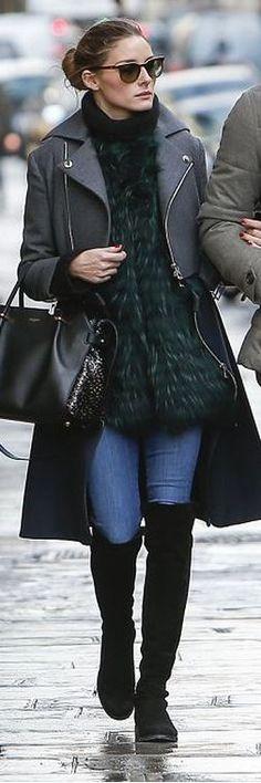 Olivia Palermo: Coat – Christian Dior  Purse – Nina Ricci  Shoes – Stuart Weitzman
