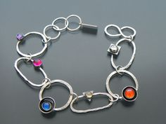 Hammered Gemstone Links Bracelet Sterling Handmade by by joykruse, $140.00