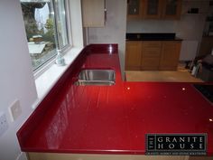 #Cimstone #RedQuartz #KitchenWorktops - www.thegranitehouse.co.uk/cimstone.html