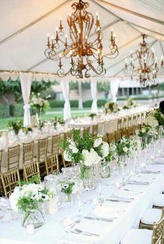 Spring Elegance white, green wedding, centerpiece