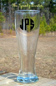 Personalized 16 oz Beer Glass Pilsner by TheSpunkyRooster on Etsy, $13.00