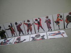 Gekke houdingen van Zwarte Piet nabootsen. Op sinterklaasmuziek laten dansen, fluiten en dan moeten ze op een prent gaan staan en de piet nabootsen
